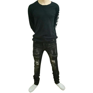 New Arrival Men Slim Fit Stretch Distressed Ripped Skinny Biker Jeans Plus Size