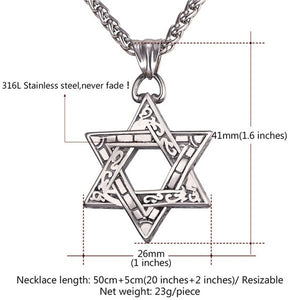 Jewish Jewelry Vintage Design Saint Megan Pendant 4 Colors Gun Black/Rose Gold/Stainless Steel/18K Gold Plated Star of David Nec