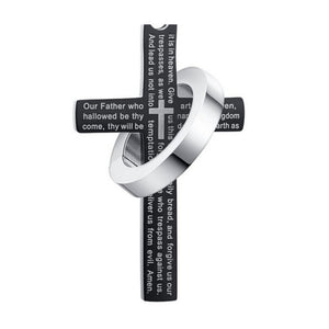 """Vansmall-Stainless Steel Men's Cross W Lord's Prayer in English Pendant Crucifix Cross Mens Pendant with 24"""" Curb Chain"""
