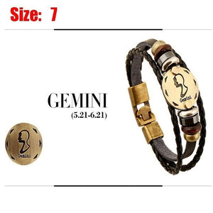 2017Lover-Beauty 12 Constellations Multi-layer Leather Cuff Chain Lucky Charm Bracelet Fashion Jewelry for Women and Men Bronze
