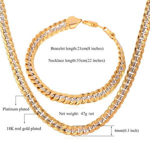 Classic Cool 18K Stamp Unisex 18K Two Tone Gold Plated Curb Chain Necklace Bracelet Set  MGC