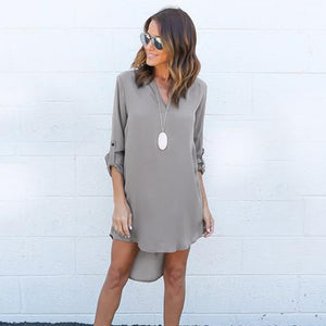 2018 Fashion S-5XL Summer Autumn Women Casual Long Sleeve Chiffon Dresses Ladies Fashion V Neck T Shirt Loose Short Dress Tops