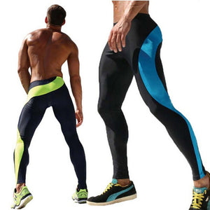 Casual Men's Sports Pants Elastic Breathable Men Legging Running Pants(Color:Blue,Green,Size:M,L,XL)