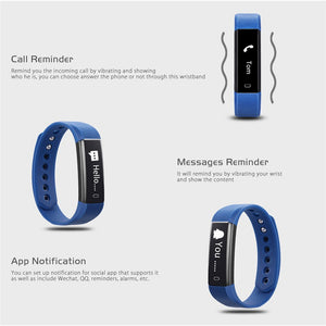 ID115 Smart Bracelet Fitness Tracker Step Counter Activity Monitor Smart Band Alarm Clock Vibration Wristband for iPhone Android