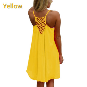 Sexy Women's Summer Casual Sleeveless Evening Party Backless Beachwear Mini Dress 2018 fashion tops