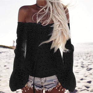Hot Sale !!! Women Off Shoulder Long Sleeve Lace Loose Blouse Tops T-Shirt S