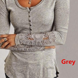 Autume New Fashion Woman Long Sleeve Embroidery Lace Button V Neck Loose Tee Shirt Top Blouse