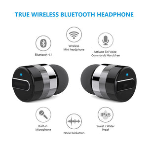 A-TION True Wireless Earbuds w/Portable Charger. Bluetooth Headphones Smallest Cordless Hands-free Mini Earphones Headset w/ Mic
