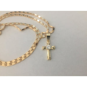 14K Gold Cross Pendant with Necklace Cruz Medalla con Cadena Oro Nuevo