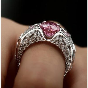 Princess 925 Sterling Silver Natural Ruby Gemstones Birthstone Bride Wedding Engagement Heart Ring Size 6 7 8 9 10 11 12