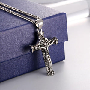 Men Vintage Cross Pendant Black Stainless Steel /18K Gold Plated Crucifix Pendant Free Chain 22 Inch
