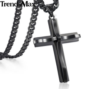 Trendsmax 5mm Womens Mens Silver Gold Black Chain Cross Pendant Necklace Stainless steel Curb Cuban Link