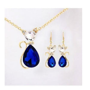 Collar Pendients Women's 18k Yellow Gold Plated Ruby/Emerald/Blue Sapphire Austrian Crystal Jewelry Sets Chain Necklace+Earrings