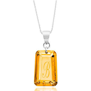 Sterling Silver Orange Cubic Zirconia November Birthstone Initial Necklace