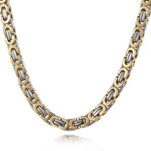 Davieslee 6mm Flat Byzantine Gold Silver Stainless Steel Mens Necklace Chain