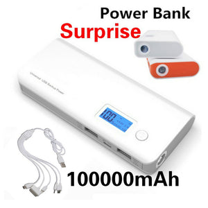 2018 New 100000mAh High Capacity Portable Power Bank Dual USB LCD Display Powerbank Battery Charger for Mobile Smartphones and T
