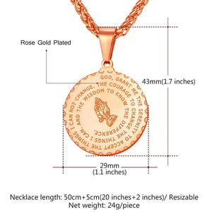 Men's Medal Pendant Prayer Necklace with 22 Inch Free Chain Christian Jewelry Stainless Steel Praying Hands Coin Medal Pendant