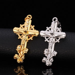 18K Gold/Platinum Plated Crucifix Religious Jewelry Christian Jesus Cross Pendant Necklace U7