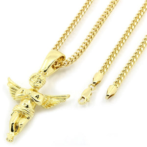 "HOT Men's 14k Gold Plated Open Wings Angel Pendant Hip-Hop 30"" Cuban Chain US SHIPPER"