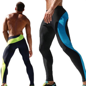 Men's Training Excercise Pants Spilced Tights Running Gym Pants Blue Green