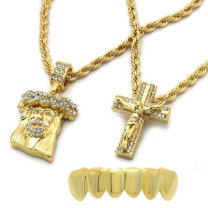 "Mens 14k Gold Plated 2 pcs Jesus & Cross 4mm 30"" & 24"" Rope chains Bottom Grill DDCCTK"