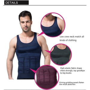 Fashion Men Slim Body Shaper Waist Abdomen Underwear Less Beer Belly Compression Sport Vest