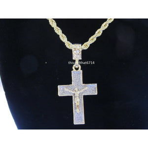 "Mens Hip Hop 14k Gold Plated Stardust Jesus Cross With 24"" Rope Chain US SHIPPING"