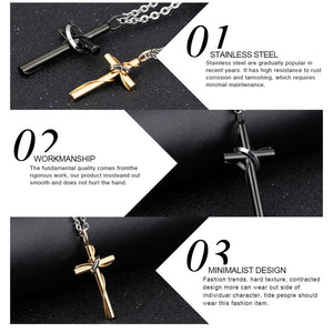 His Hers Stainless Steel Cross Pendant Necklace Chain for Couples Gold Black