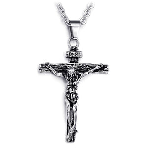 Men's Silver Black Stainless Steel Jesus Crucifix Cross Pendant Necklace Chain