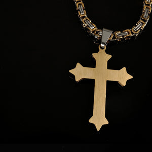 2017 Cross Piece Pendant & Necklace Gold Color Stainless Steel Men Chain Christian Jewelry Gifts Vintage