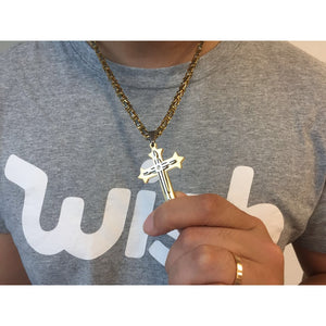 Jewelry Mens Byzantine Gold Silver Stainless Steel Cross Pendant Necklace Chain 22/ 24inch