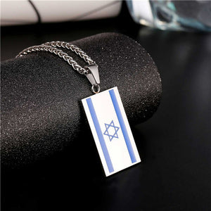 Star of David Necklace Middle Eastern Magen Star Jewish Jewelry Stainless Steel Israel Flag Pendant