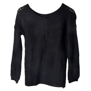 Fashion Loose Solid Knitted Pullover Women Sweater Slash Neck Sexy 2015 Autumn Winter Twisted Casual Sweaters Jumper Pullovers
