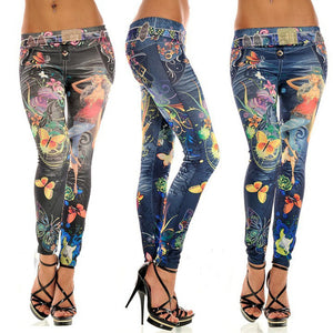 Sexy Fashion Womens Skinny Blue Jean Denim Look Leggings Stretchy Leggings Pants