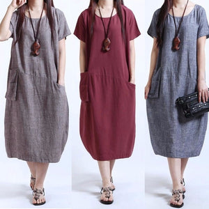 Fashion Vintage Women Casual Loose Long Tops Shirt Baggy Tunic Maxi Dress Plus Size