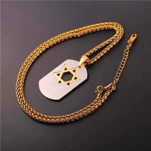 Men Dog Tag Jewelry Stainless Steel Gun-black Metal Chain Star of David Pendant Necklace
