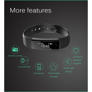 ID115 Smart Bluetooth Bracelet Fitness Tracker Pedometer Step Counter Call Prompts Sports Activity Tracker Fitness Watch Band Al