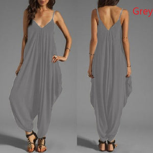 Women Sexy Sleeveless Spaghetti Strap Deep V Neck Harem Jumpsuit Rompers 10 Colors