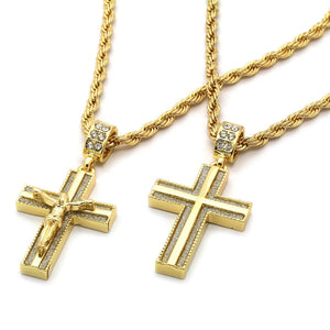 "Men 14k Gold Plated 2 pcs set of Jesus Cross 4mm 30"" 24"" Rope chain Necklace"