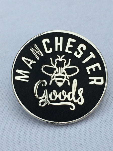 Black Pin Badge Manchester Goods