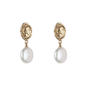 À LA HEAD COIN WITH BIG FRESHWATER PEARL EARRINGS