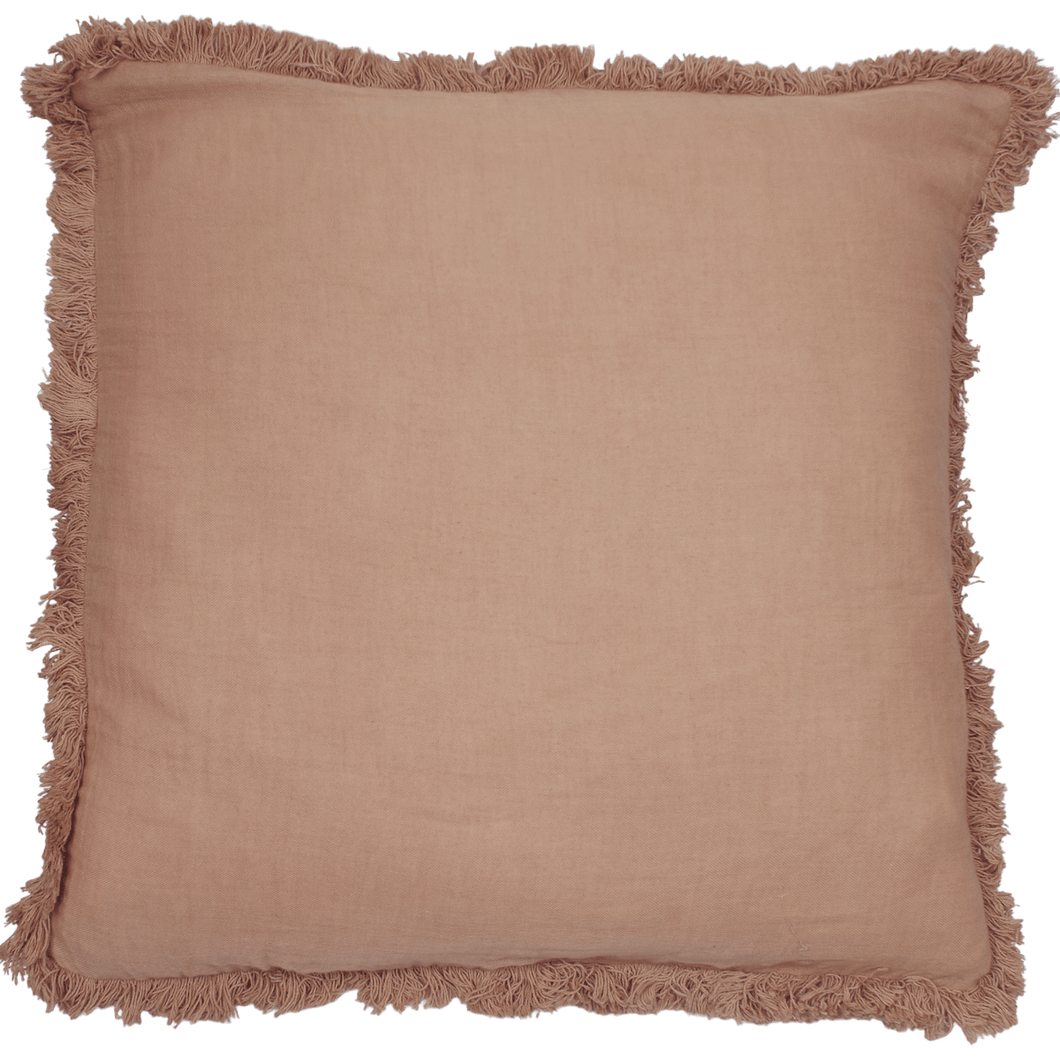 À LA CUSHION COVER WITH FRINGES - CORAL