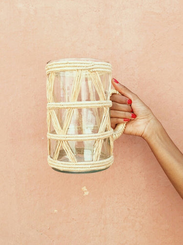 CHÂBI CHIC | GLASS JUG + BRAIDED RAFFIA