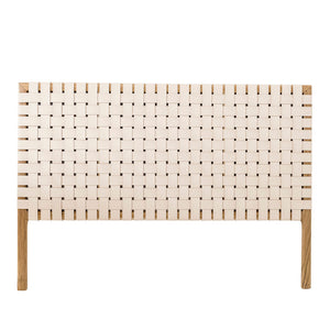 LEATHER & TEAK WOVEN BED HEAD | PRE ORDER