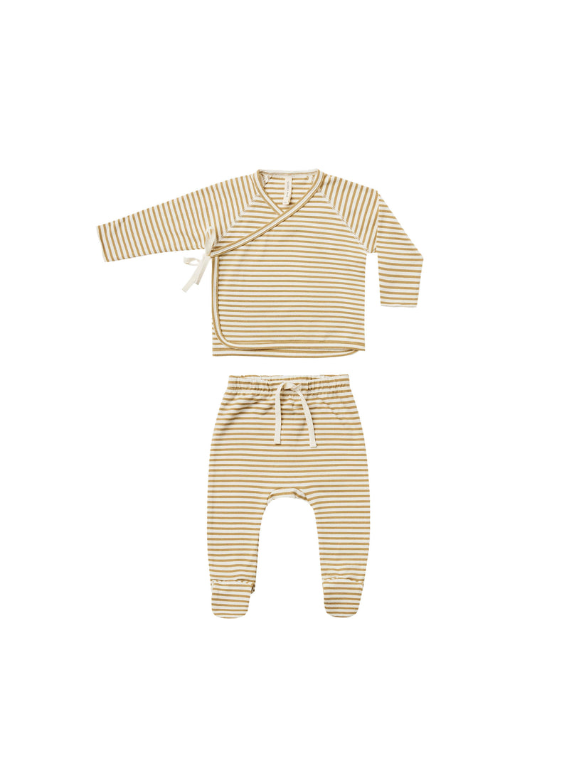 QUINCY MAE | KIMONO TOP FOOTED PANT SET - GOLD STRIPE