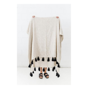 HAND LOOMED TASSEL THROW - BLACK