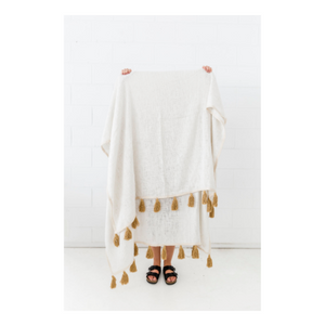 HAND LOOMED COTTON THROW - OCHRE