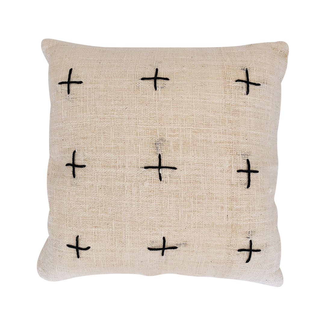 CROSS CUSHION COVER + INNER | NATURAL