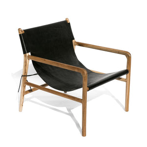 HELLO LEATHER + TEAK CHAIR | BLACK