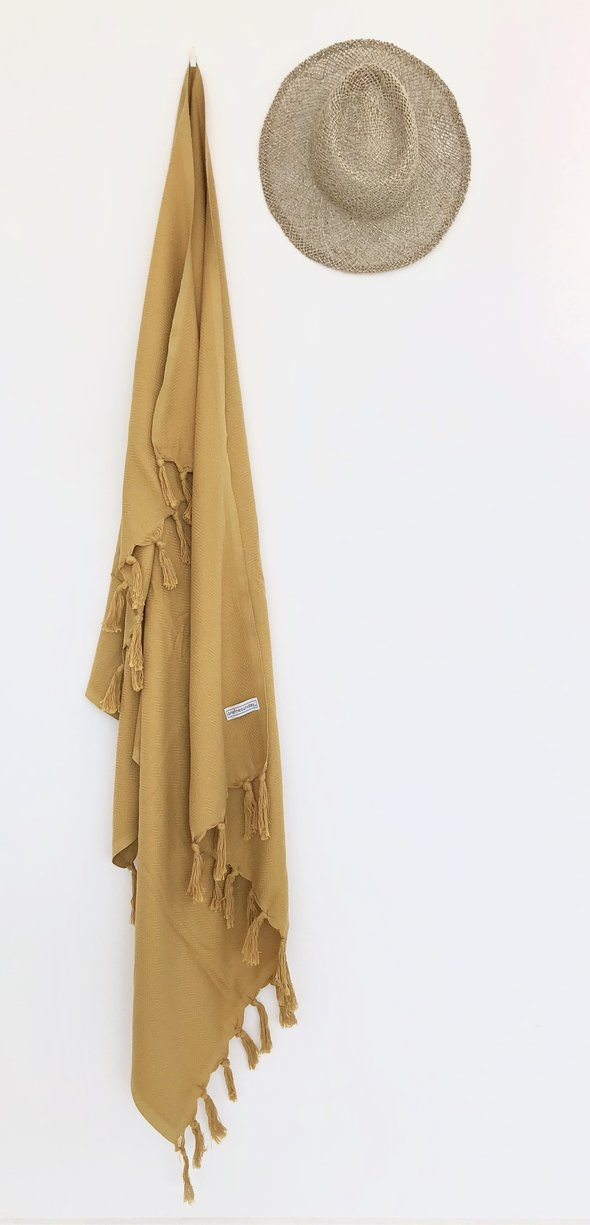 ONE FINE SUNDAY LUXE SIGNATURE TURKISH TOWEL / THROW - MUSTARD